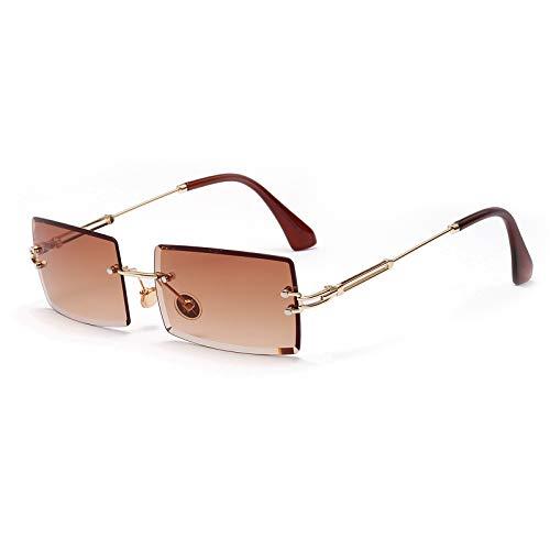 Lunettes de soleil carrées ultra-petites pour femmes Hommes Rectangle Rétro voir à travers des lunettes de soleil sans monture