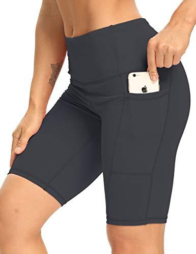 XXXAXXX Biker Shorts for Women High Waist Workout Running Athletic Yoga Tummy Control Shorts with Pockets DeepGrey-L
