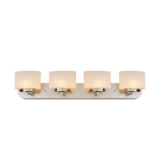 Design House 587972 Addison Modern Dimmable Vanity Light Indoor Up/Down Wall Mount Oval Frosted Glass for Bathroom Bedroom Dressing Table (Bulbs not Included), 4, Satin Nickel