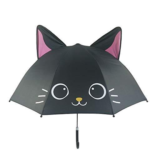 Spring Color Adorable and Durable Kids Umbrella – Children's Rainy Day Umbrella (Black Cat)