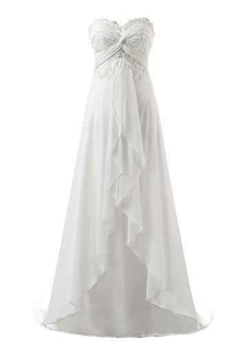 Vantexi Women's Sweetheart Chiffon Long Beach Wedding Dress Ivory Size 14