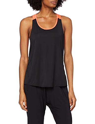Marca Amazon - AURIQUE Camiseta Deportiva de Doble Capa Mujer, Multicolor (Black/Geranium), 36, Label:XS