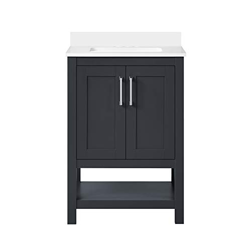 Ove Decors Vegas 24 inch Bathroom Vanity Combo Freestanding Bath Cabinet   Modern Single Sink with Cultured Marble Countertop   Fully Assembled   Backsplash Included, Dark Charcoal