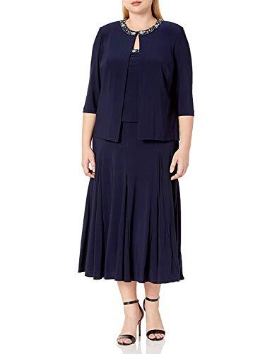 Alex Evenings Women's Plus-Size Tea Length Jacket Dress with Sequin Beaded Trim, Navy, 14W (Apparel)