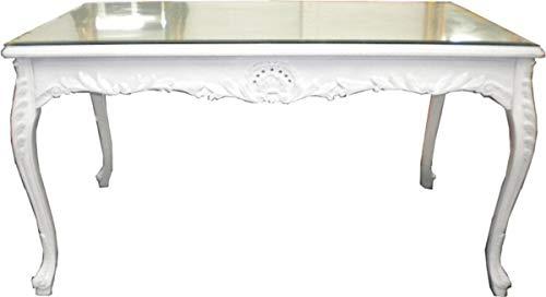 Casa Padrino Mesa de Comedor barroca Blanca 120 cm - Muebles Mesa barroca Muebles Mesa barroca
