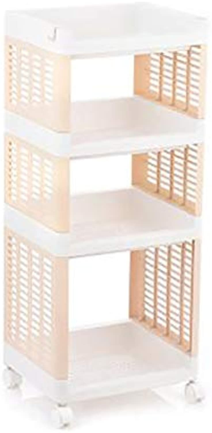 Plastic Kitchen Shelving Floor Multi-Layer Space-Saving Fruit and Vegetable Storage Basket Finishing Rack -by TIANTA (color   Beige(4 Layers))