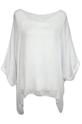 Cara Mia Seidentunika für Damen Made in Italy lang Fledermaus-Ärmel Weiß 38 40 42 44