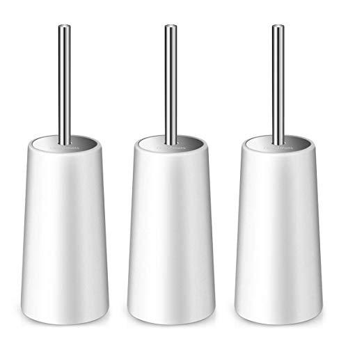 Homemaxs Toilet Brush and Holder 3 Packs,【2020 Upgraded】 White Toilet Brush with 304 Stainless Steel Long Handle, Deep Cleaning Toilet Bowl Brush for Bathroom Toilet - Ergonomic, Durable