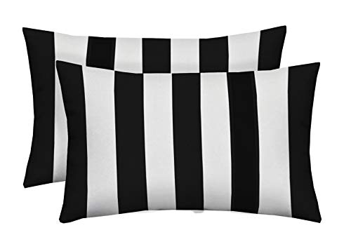 Resort Spa Home Decor Set of 2 Indoor/Outdoor Decorative Lumbar/Rectangle Pillows - Black and White Stripe
