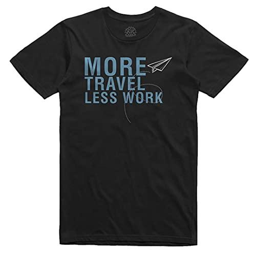 Zefiro - Camiseta divertida con texto en inglés «More Travel Less Work» – Menos Trabajo Más Viajes – Algodón 100% orgánico Negro More Travel M