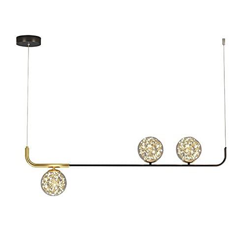 JHYPVII Lámpara Colgante Comedor LED Negro Dorado Colgante De Luz Moderno Línea Regulable con Control Remoto Luces Colgante Lámparas De Araña Vidrio Esférico Altura Ajustable