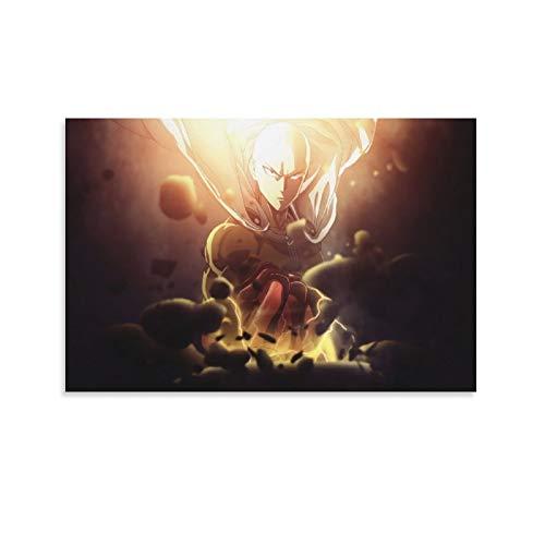 DRAGON VINES Póster decorativo de anime One Punch Man Cald Head Saitama destrozada Cool Art Póster impreso, sin marco, 50 x 75 cm