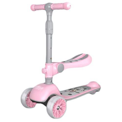 ZYM Sichere Kinder Roller Scooter Kick-Roller für Kinder 2-12 Jahre alt - Faltbarer Roller mit abnehmbarem Sitz,...
