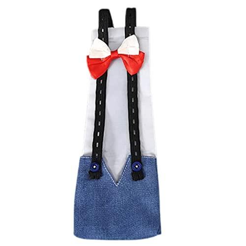 FUNCOCO Eendenluier, verstelbare doek luier wasbaar herbruikbaar schattig strik luier kostuum voor pluimvee – denim