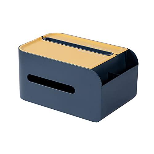 Walout - Caja de almacenamiento de plástico para pañuelos máscaras, organizador de escritorio, soporte para teléfono, lápices, color azul