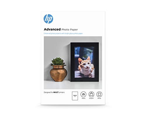 HP Advanced Glossy Photo Paper, Q8691A, 25 hojas de papel fotográfico satinado avanzado, compatible con impresoras de inyección de tinta, 10 x 15 cm, peso del material de impresión 250 g/m²