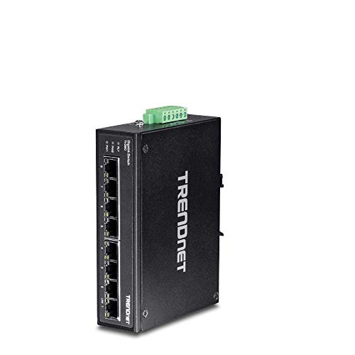 TRENDnet 8-Port Hardened Industrial Gigabit DIN-Rail Switch,TI-G80,16 Gbps Switching Capacity,IP30 Rated Metal Housing (-40 to 167 ºF),DIN-Rail & Wall Mounts Included, Lifetime Protection