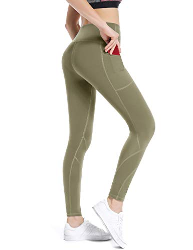 ALONG FIT high Waist Workout Leggings for Women with Pockets Tummy Control Olive Yoga Pants for Running