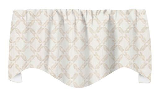 "Beige and White Curtains Window Valances for Living Room Window Treatments, Lattice Look Fabric by Ellen De Generes 53"" x 18"""