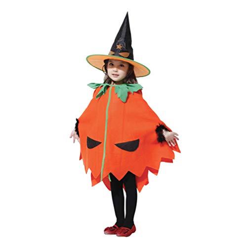 Wakauto Disfraz de Calabaza para Niños Disfraz de Disfraz de Calabaza de Halloween Novedad Disfraz de Halloween con Sombrero para Niños Pequeños