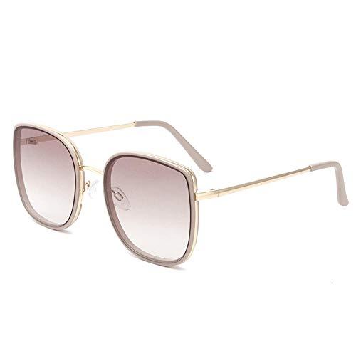 Gafas de sol mujer verano pareja gafas de sol protección UV Moda HD-Marco marrón claro [Película marrón degradado HD]