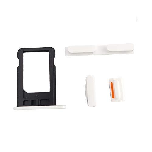 Smartex® Weiß Taste + SIM Karten Halter kompatibel mit iPhone 5C / Power On Off, Mute, Volumen Ersatzteil