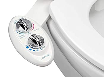 LUXE Bidet Neo 185  Elite  Non-Electric Bidet Toilet Attachment w/ Self-cleaning Dual Nozzle and Easy Water Pressure Adjustment for Sanitary and Feminine Wash  White and White