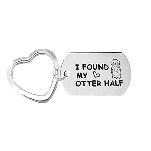 Beydodo Schlüsselanhänger Paar Lange Tag mit Gravur I Found My Otter Half Herz Schlüsselring Edelstahl Schlüsselanhänger Herren Damen
