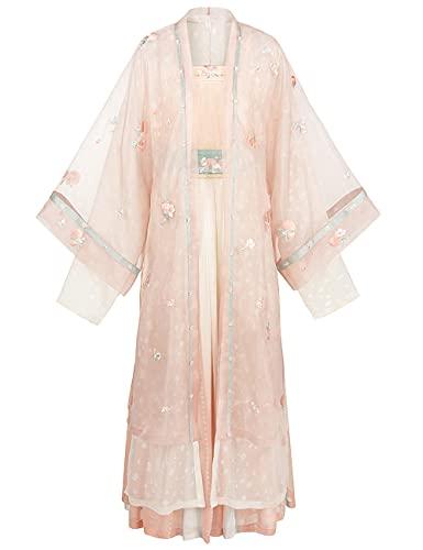 Vestido tradicional chino Hanfu para mujer, color rosa melocotn antiguo traje cosplay traje 4 piezas conjunto-white_S