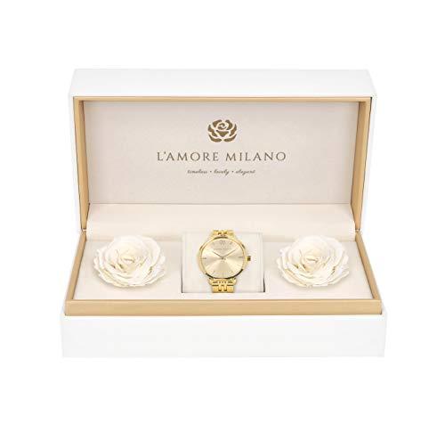 L'AMORE MILANO Damen Uhr Giulia Gold 36mm Analog Quarz Glieder Uhrenarmband Rosenbox langlebige Rosen Geschenkset Mädchen Schmuckset Flowerbox