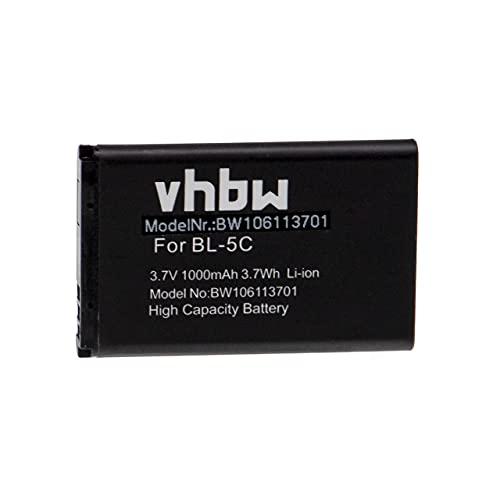 vhbw batteria compatibile con Nokia 6600, 6630, 6670, 6680, 6681, 6820, 6822, 7600, 7610, C1 smartphone cellulare (1000mAh, 3,7V, Li-Ion)