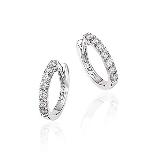 Hithop Premium Quality Fashion Women's Rhinestone Silver Round Rings Hoop Stud Earrings Jewellery Gift
