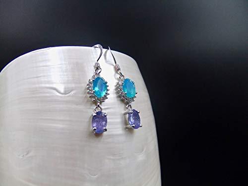 Tanzanite, Blue Ethiopian Opal, Cubic Zirconia, Sterling Silver, Earrings