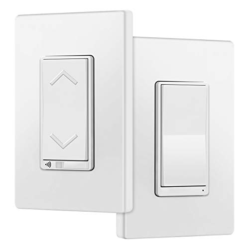 TOPGREENER TGWF500D3W Smart Wi-Fi 3-Way Dimmer Switch Kit, Wi-Fi Dimmer Light Switch and Auxiliary Switch, Neutral Wire Required, Compatible with Alexa and Google Assistant