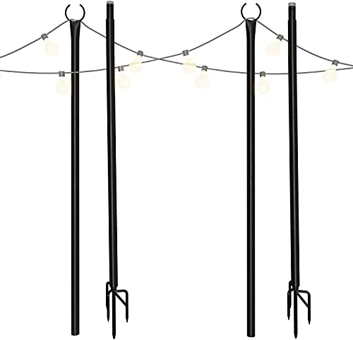 Holiday Styling String Light Pole - Outdoor Metal Poles with...