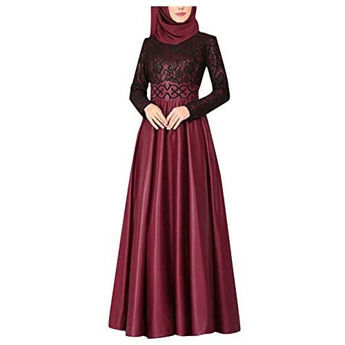 VEMOW Las Mujeres de Fullsleeve Ropa Musulmanes Abaya Maxi Vestido, Túnicas Árabes Musulmanes Longitud Vestir Informal Islámica Kaftan Marroquí Maxi Vestido Lglesia Oración Bordado Robe(H Rojo,S)