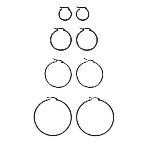 [ホーアムアイ]HooAMI 【4ペアセット】 ステンレス フープピアス レディース リング シンプル 金属アレルギー対応 艶を出す サイズ:20/30/35/45mm(ブラック)