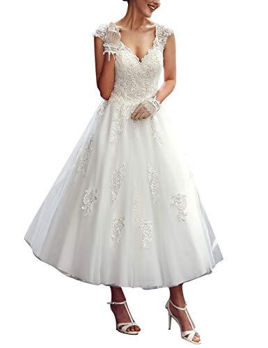 A-Linie Spitze Tüll Brautkleider V-Ausschnitt Prinzessin Vintage Hochzeitskleider Rückenfrei Wadenlang Elfenbein 46