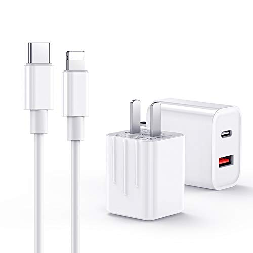Fast Charger, GUSGU 18W USB C Power Delivery Wall Charger Plug w/ 3.3FT Cable Type C Charger for iPhone 12 SE 2020 11 Xs Max XR X 8 Plus iPad Pro AirPods Android Phone
