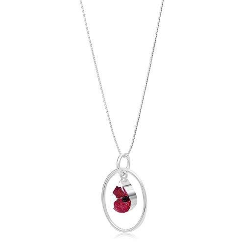 Shrieking Violet 925 Sterling Silver Teardrop Hoop Real Flower Pendant Necklace -- Poppy (Red)