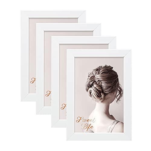 Egofine Set di 4 cornici portafoto in legno composito, 10 x 15 cm, con vero vetro, orizzontali o verticali, per appendere la parete o la decorazione da tavolo, colore: bianco