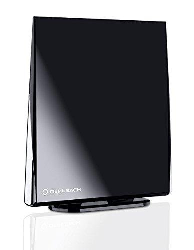 Oehlbach Digital Flat 2.5 - Aktive DVB-T & DVB-T2 HD Antenne mit Omni-direktionalen Empfang - Rauscharm & Abnehmbarer Verstärker - schwarz