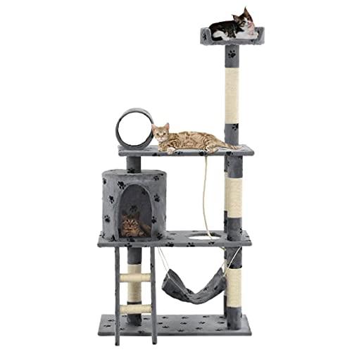 LONGMHKO Albero per Gatti e Tiragraffi Sisal 140cm Zampe Stampate Grigio Animali Domestici - Articoli Altezza dell'albero per Gatti: 140 cm