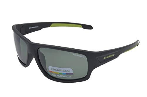 Gamswild WS4832 Sonnenbrille Sportbrille Skibrille Fahrradbrille Damen Herren Unisex   blau   schwarz   grün, Farbe: Schwarz