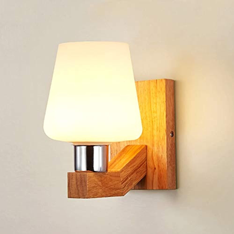 Innenbeleuchtung LED Wandlampen Wandleuchte Moderne Nordic Esszimmer Studie Lichter Holz Wandleuchte Dekorative E27 LED-Lampen, A, Warmwei (2700-3500K)