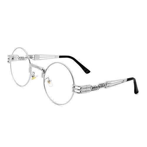 AMZTM Gafas de Sol Retro Steampunk Reflejado Gafas Redondo Vendimia Hippie para Mujer Y Hombre Lente Polarizada Marco de Metal Protección UV 400 (Plata Cuadro Claro Lente, 49)