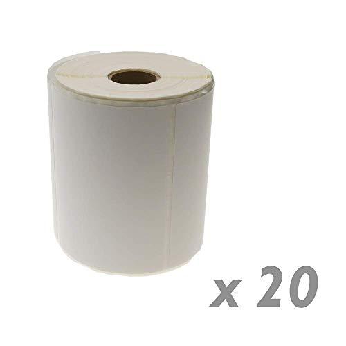 BeMatik - Rotoli Bobina 500 etichettes adesive per Stampante trasferimento Termico 101.6x76.2mm 20 unità