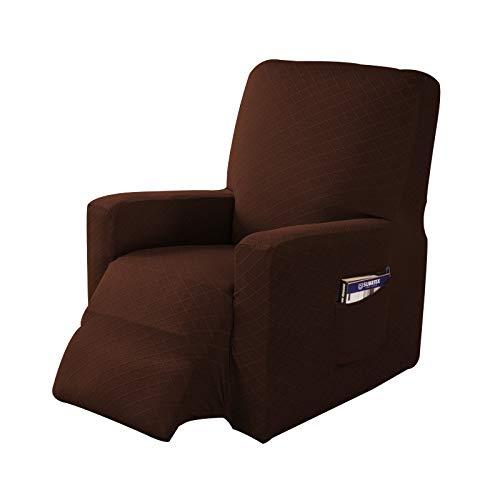 1 pezzo elasticizzato per sedia reclinabile in tessuto jacquard, fodera per divano, protezione per mobili con elastico inferiore tasca laterale adatta per soggiorno (cioccolato)