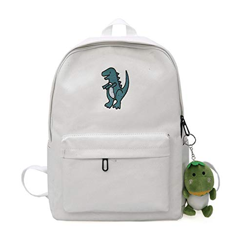 VICTOEFashion - Mochila con bordado de dinosaurio para mujer, bonita bolsa de viaje, estilo coreano, para adolescentes Lienzo blanco. 34cm*10cm*40cm