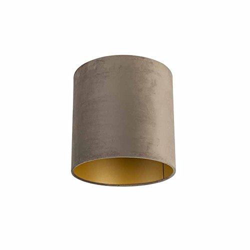 QAZQA Velours lampenkap taupe 25/25/25 met gouden binnenkant, Rond recht hang kap,staande kap